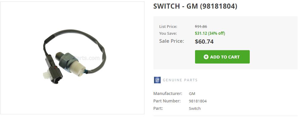 Genuine GM Switch 98181804