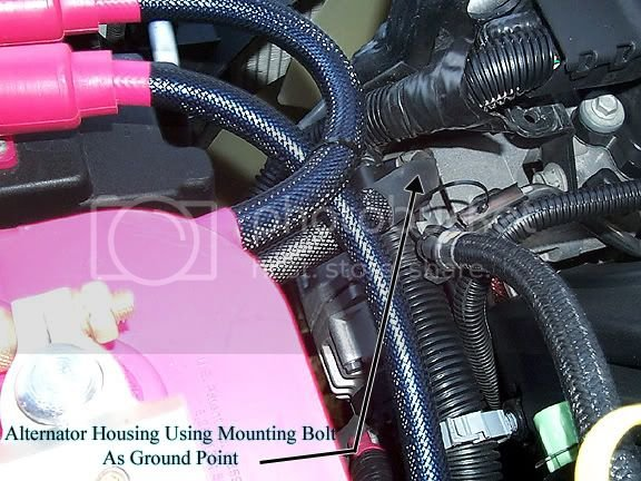remove one of the top alternator mounting bolts and again use a star washer  between the alt housing and ring terminal