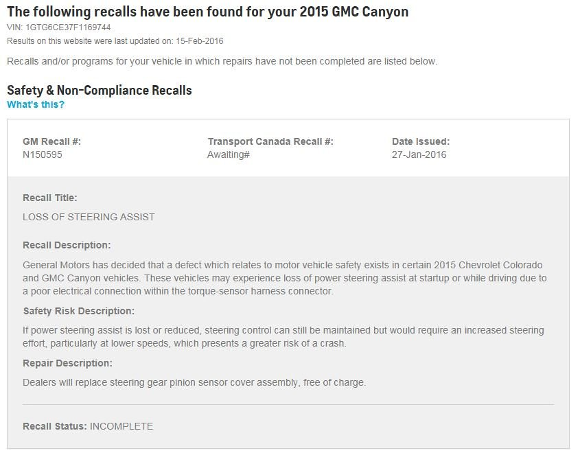 GM Recall #N150595 and/or 15595 - LOSS OF STEERING ASSIST