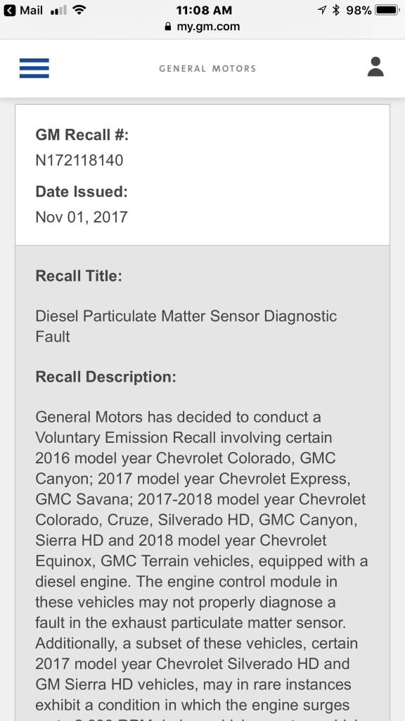 FYI Recall   Chevy Colorado & GMC Canyon