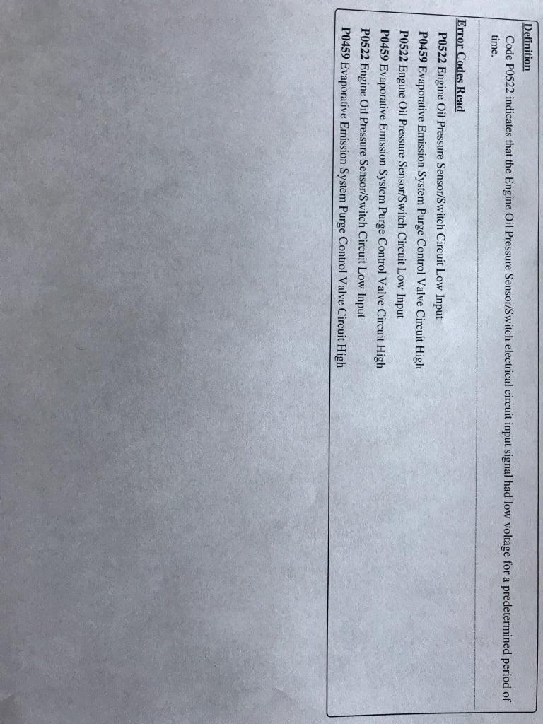 DIC showing no oil pressure 2017 3 6L  | Chevy Colorado